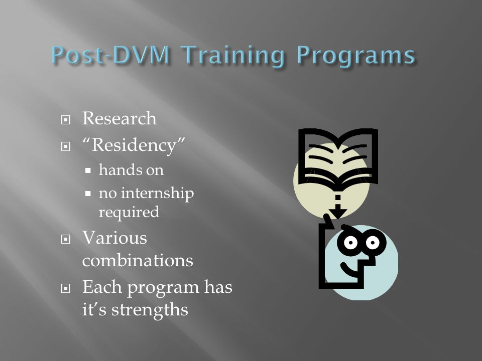  Research  Residency  hands on  no internship required  Various combinations  Each program has it's strengths