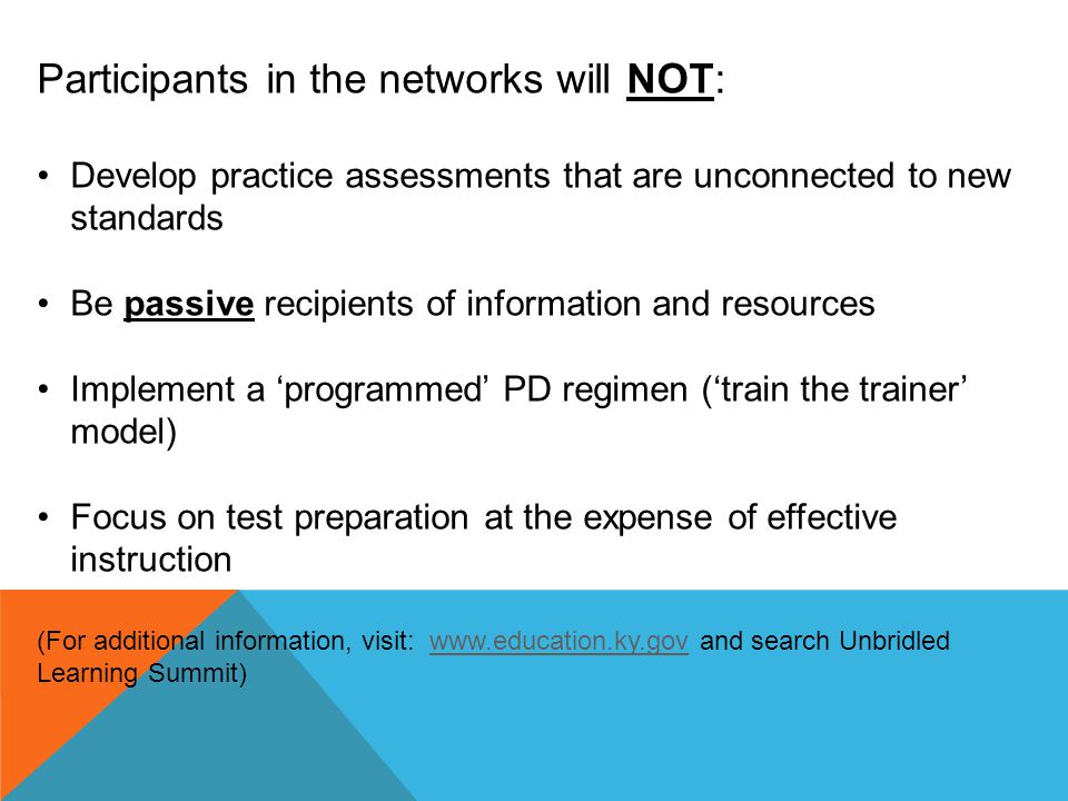 Participants in the networks will NOT: Develop practice assessments that are unconnected to new standards Be passive recipients of information and res