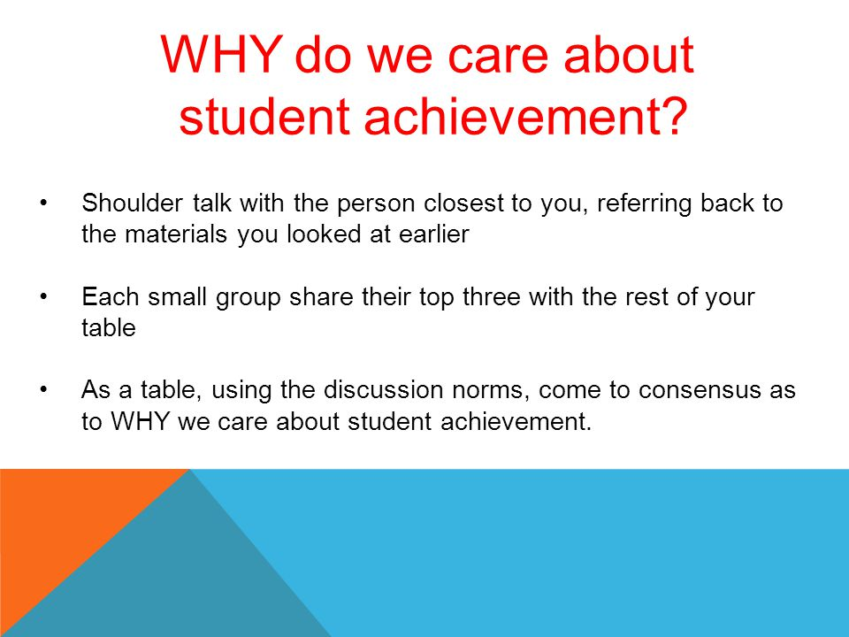 WHY do we care about student achievement? Shoulder talk with the person closest to you, referring back to the materials you looked at earlier Each sma