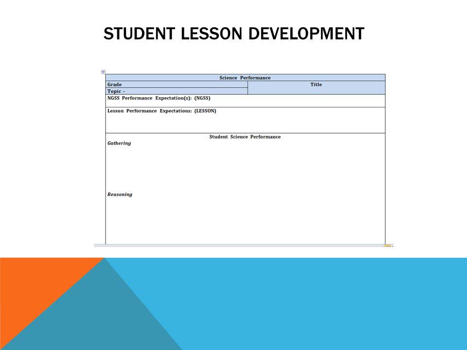 STUDENT LESSON DEVELOPMENT