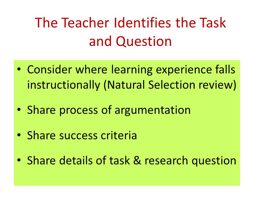 The Teacher Identifies the Task and Question Consider where learning experience falls instructionally (Natural Selection review) Share process of argu