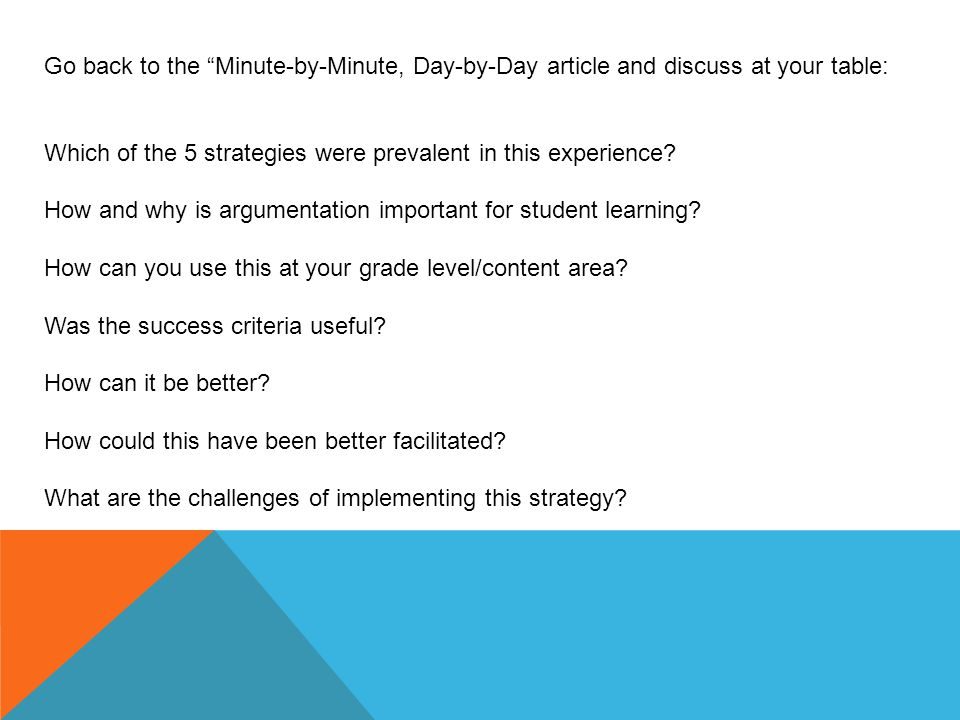 "Go back to the ""Minute-by-Minute, Day-by-Day article and discuss at your table: Which of the 5 strategies were prevalent in this experience? How and w"