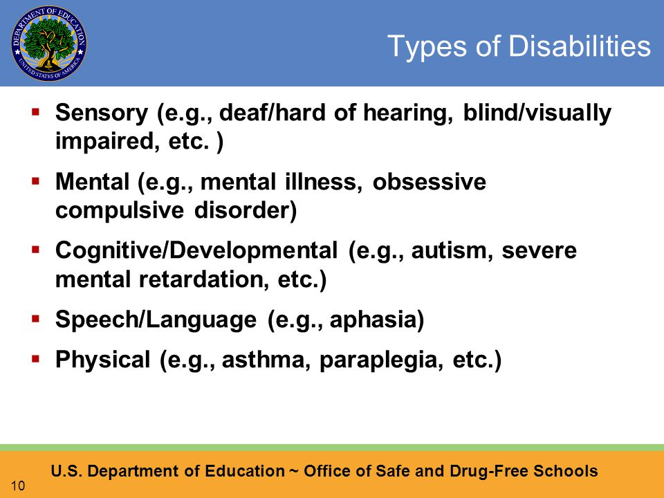U.S. Department of Education ~ Office of Safe and Drug-Free Schools 10 Types of Disabilities  Sensory (e.g., deaf/hard of hearing, blind/visually imp