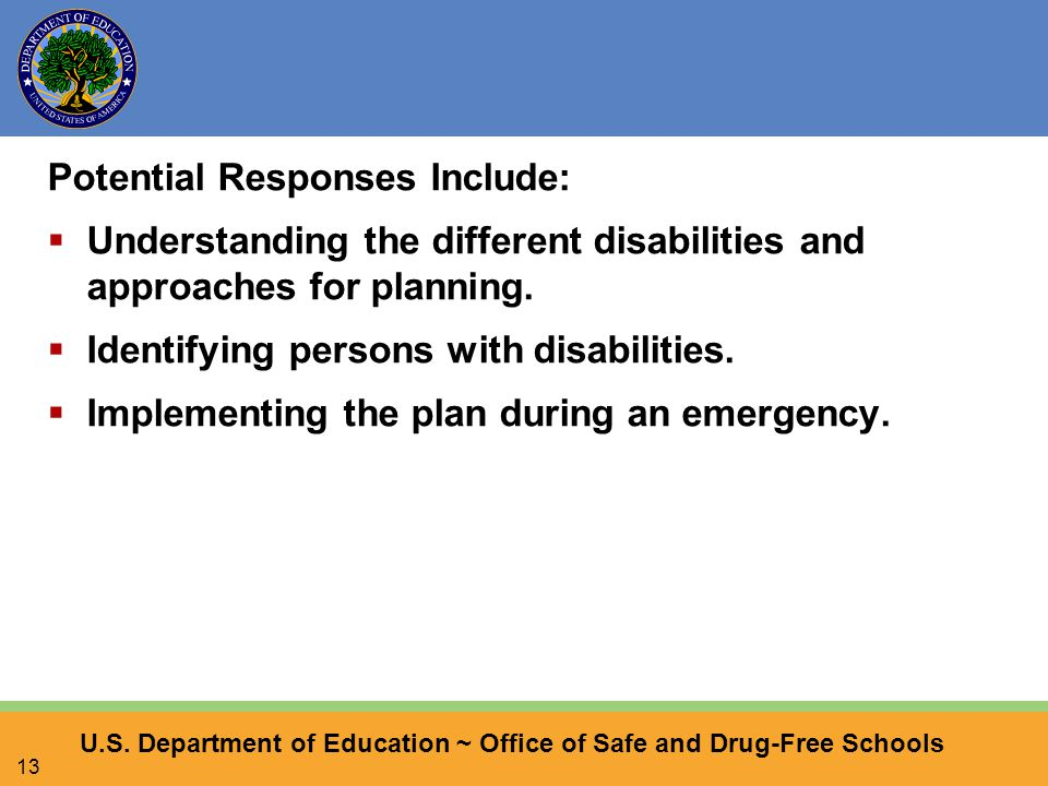 U.S. Department of Education ~ Office of Safe and Drug-Free Schools 13 Potential Responses Include:  Understanding the different disabilities and app