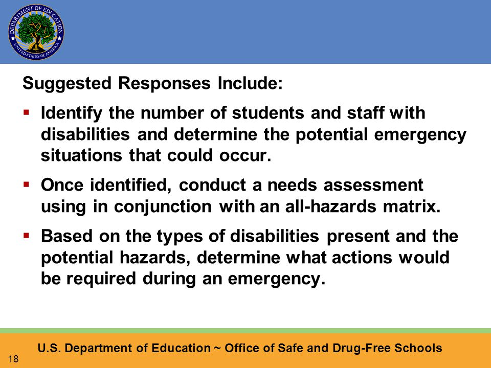 U.S. Department of Education ~ Office of Safe and Drug-Free Schools 18 Suggested Responses Include:  Identify the number of students and staff with d