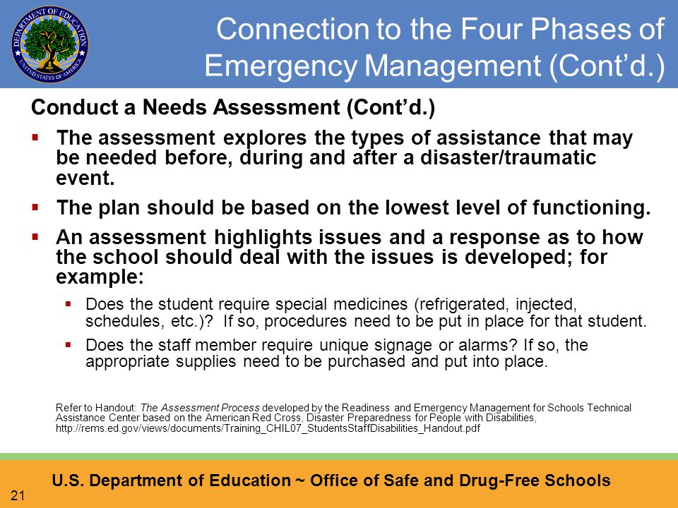 U.S. Department of Education ~ Office of Safe and Drug-Free Schools 21 Connection to the Four Phases of Emergency Management (Cont'd.) Conduct a Needs