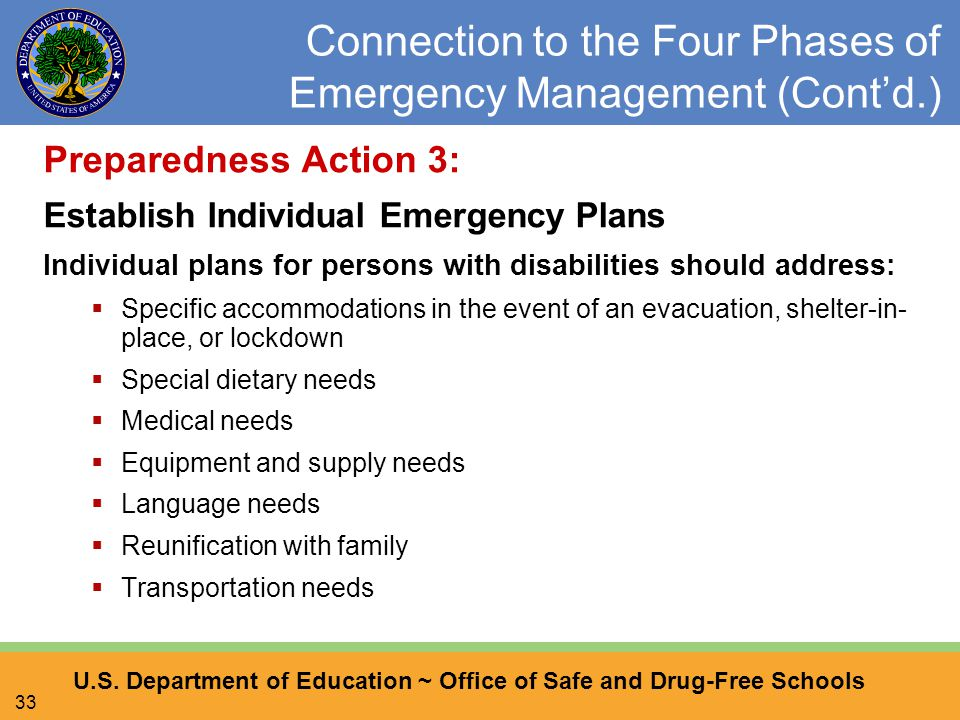 U.S. Department of Education ~ Office of Safe and Drug-Free Schools 33 Connection to the Four Phases of Emergency Management (Cont'd.) Preparedness Ac