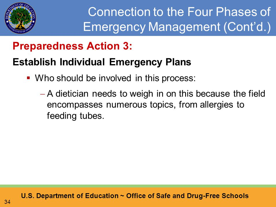 U.S. Department of Education ~ Office of Safe and Drug-Free Schools 34 Connection to the Four Phases of Emergency Management (Cont'd.) Preparedness Ac
