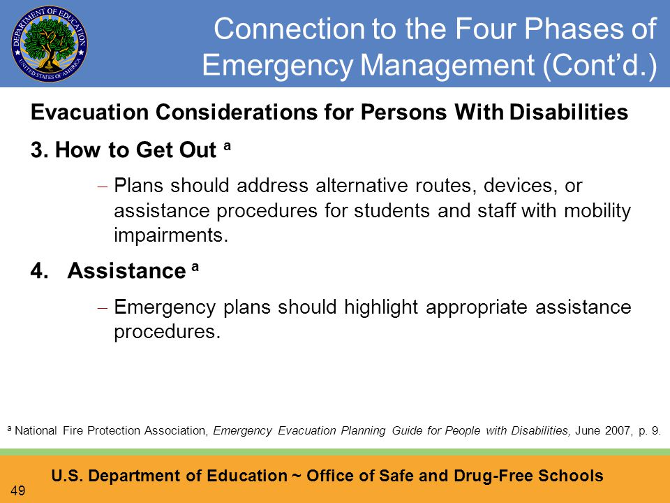U.S. Department of Education ~ Office of Safe and Drug-Free Schools 49 Connection to the Four Phases of Emergency Management (Cont'd.) Evacuation Cons