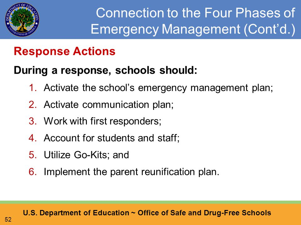 U.S. Department of Education ~ Office of Safe and Drug-Free Schools 52 Connection to the Four Phases of Emergency Management (Cont'd.) Response Action