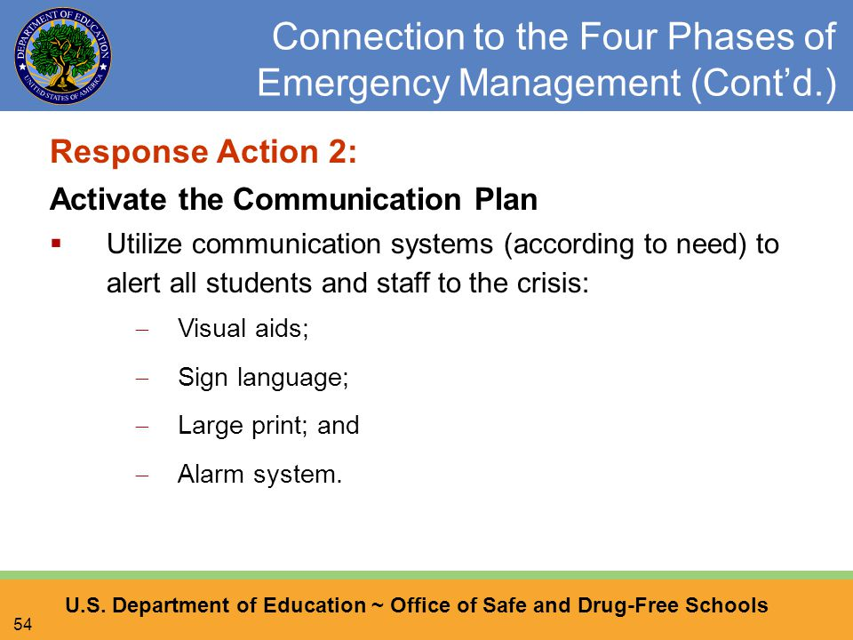 U.S. Department of Education ~ Office of Safe and Drug-Free Schools 54 Connection to the Four Phases of Emergency Management (Cont'd.) Response Action