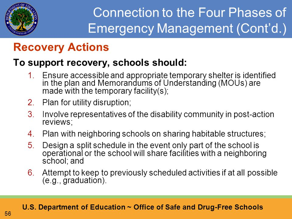 U.S. Department of Education ~ Office of Safe and Drug-Free Schools 56 Connection to the Four Phases of Emergency Management (Cont'd.) Recovery Action