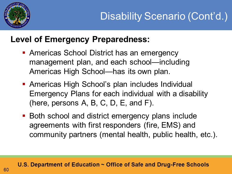 U.S. Department of Education ~ Office of Safe and Drug-Free Schools 60 Disability Scenario (Cont'd.) Level of Emergency Preparedness:  Americas Schoo