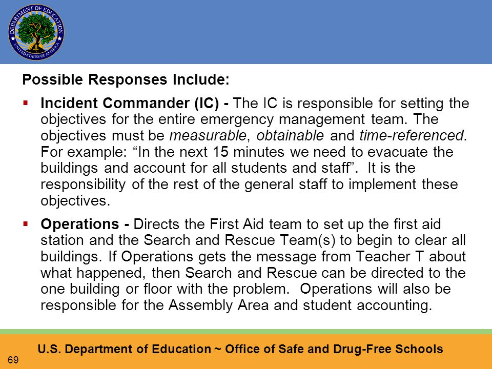 U.S. Department of Education ~ Office of Safe and Drug-Free Schools 69 Possible Responses Include:  Incident Commander (IC) - The IC is responsible f
