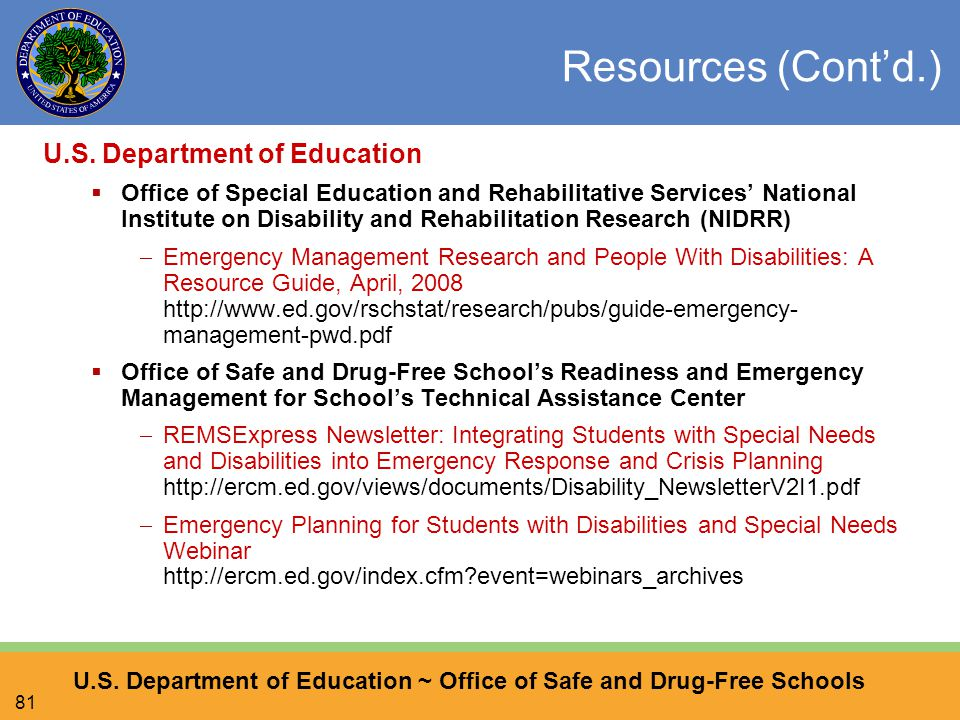 U.S. Department of Education ~ Office of Safe and Drug-Free Schools 81 Resources (Cont'd.) U.S.