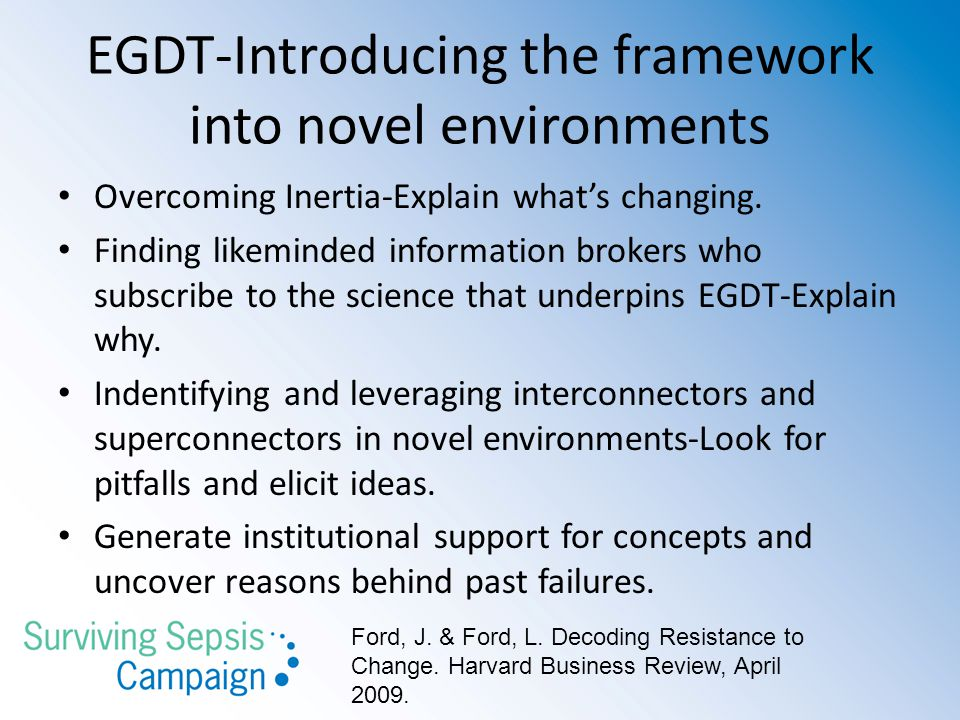 EGDT-Introducing the framework into novel environments Overcoming Inertia-Explain what's changing.