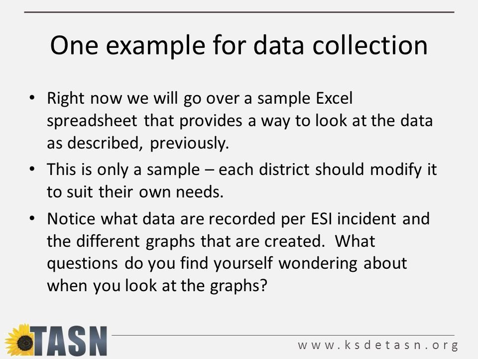 www.ksdetasn.org One example for data collection Right now we will go over a sample Excel spreadsheet that provides a way to look at the data as described, previously.