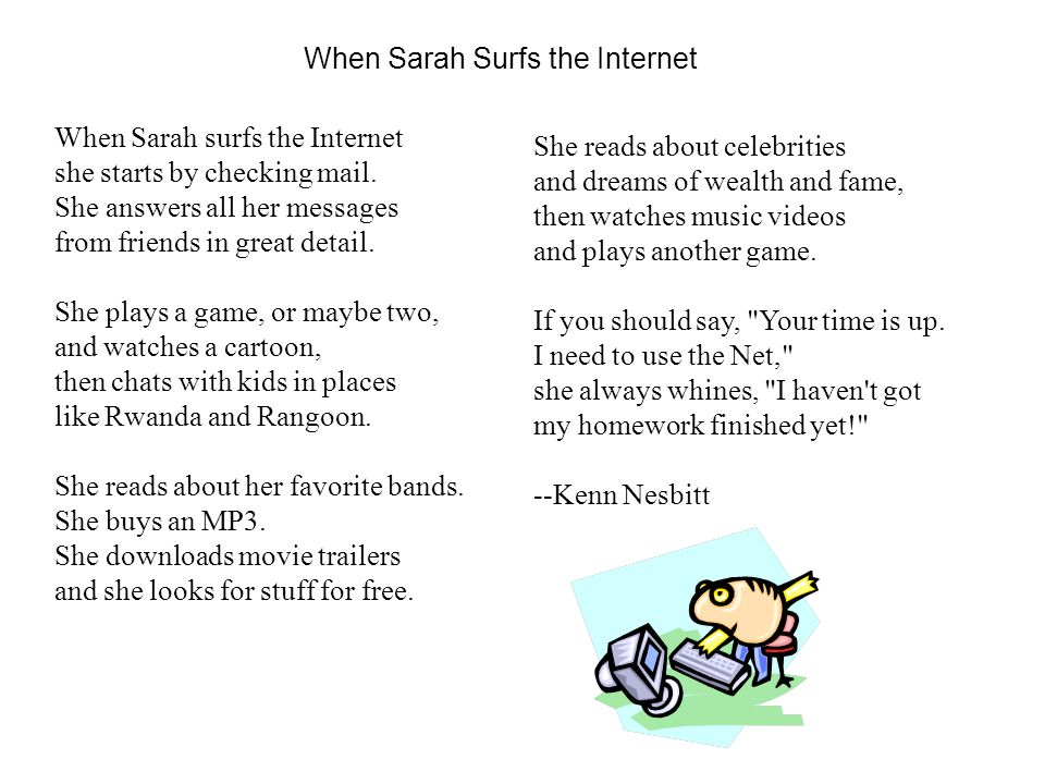 When Sarah Surfs the Internet When Sarah surfs the Internet she starts by checking mail.