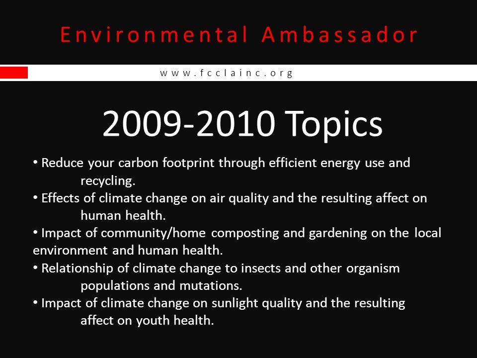 www.fcclainc.org Environmental Ambassador Point Summary Form