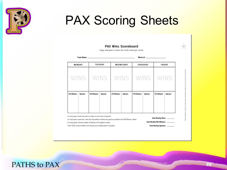 89 PAX Scoring Sheets