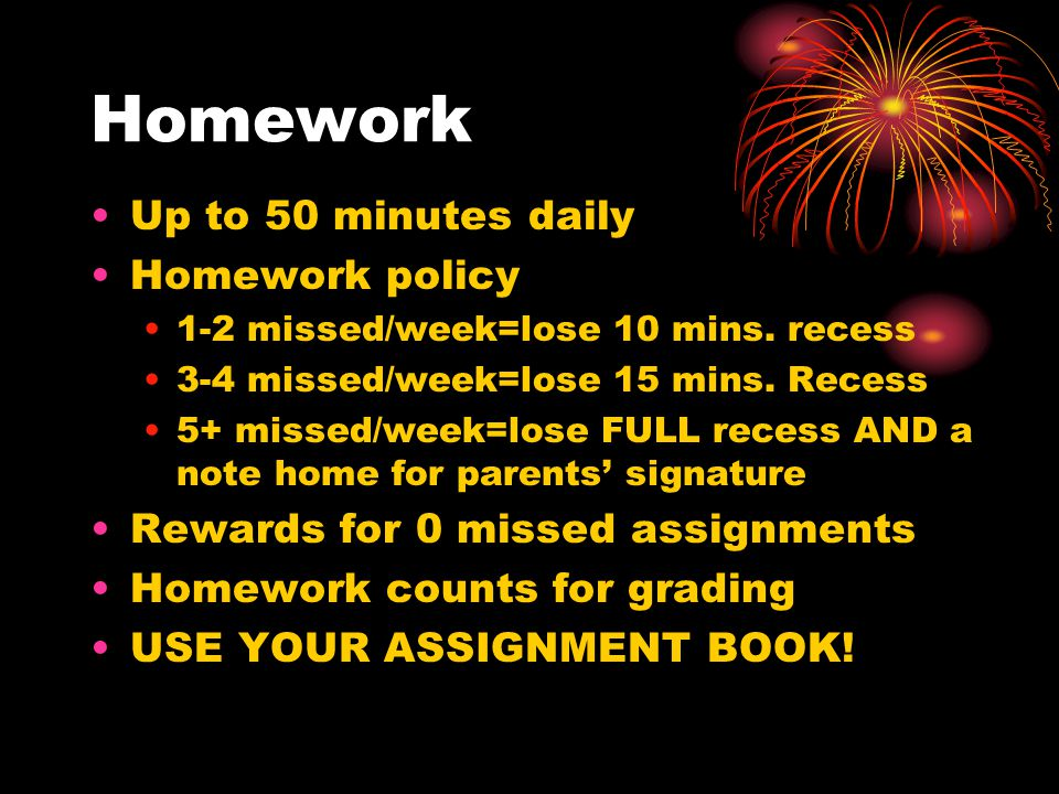Homework Up to 50 minutes daily Homework policy 1-2 missed/week=lose 10 mins. recess 3-4 missed/week=lose 15 mins. Recess 5+ missed/week=lose FULL rec