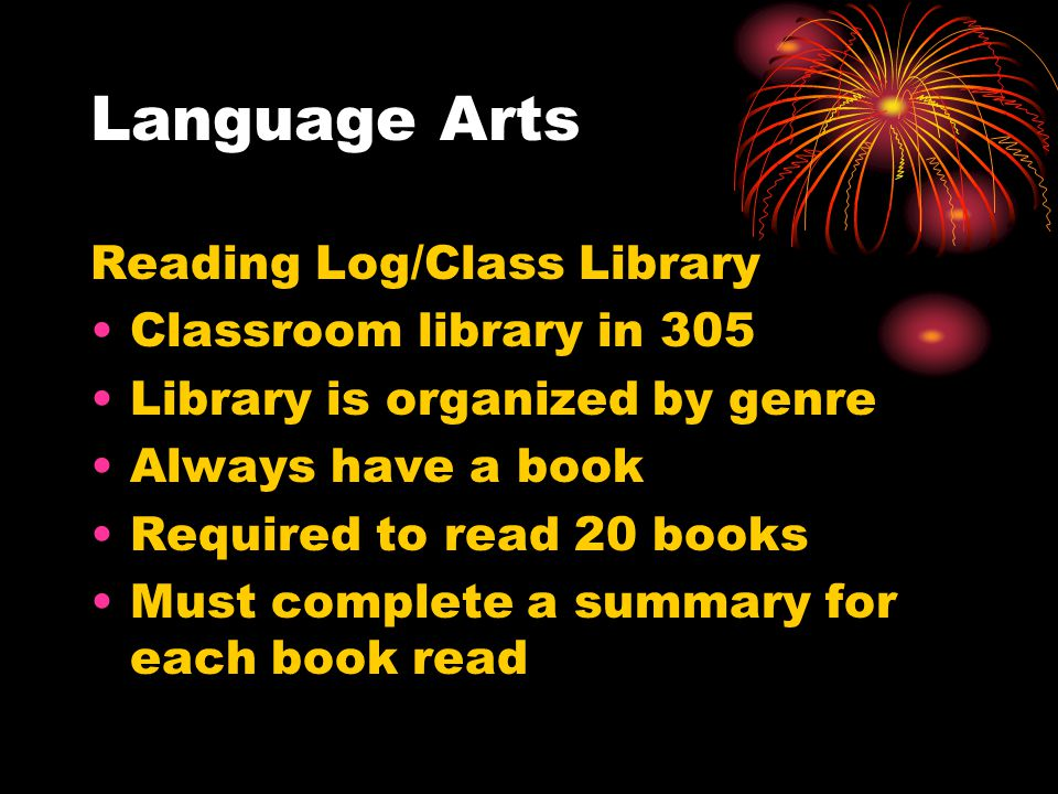 Language Arts Reading Log/Class Library Classroom library in 305 Library is organized by genre Always have a book Required to read 20 books Must complete a summary for each book read