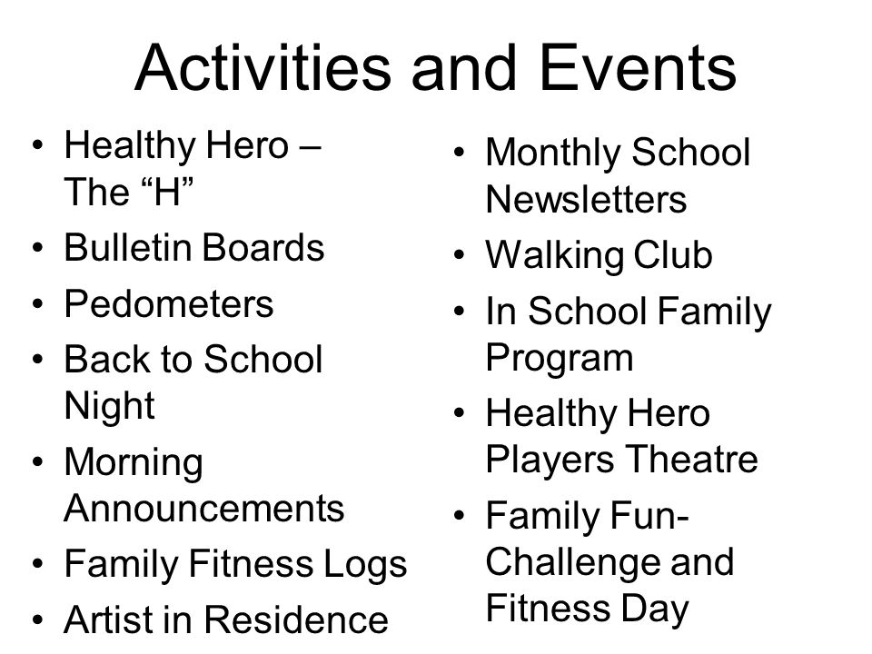 "Activities and Events Healthy Hero – The ""H"" Bulletin Boards Pedometers Back to School Night Morning Announcements Family Fitness Logs Artist in Resid"