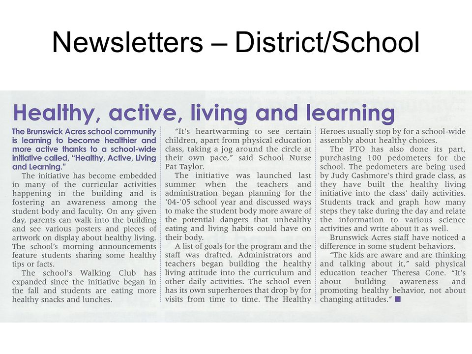 Newsletters – District/School
