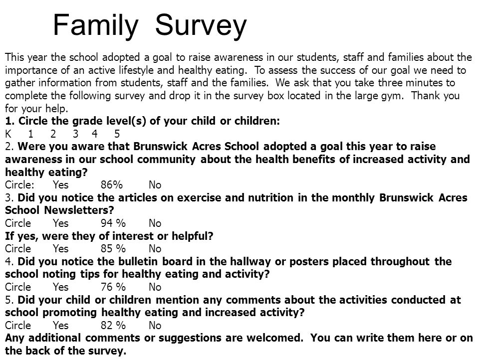 Family Survey This year the school adopted a goal to raise awareness in our students, staff and families about the importance of an active lifestyle and healthy eating.