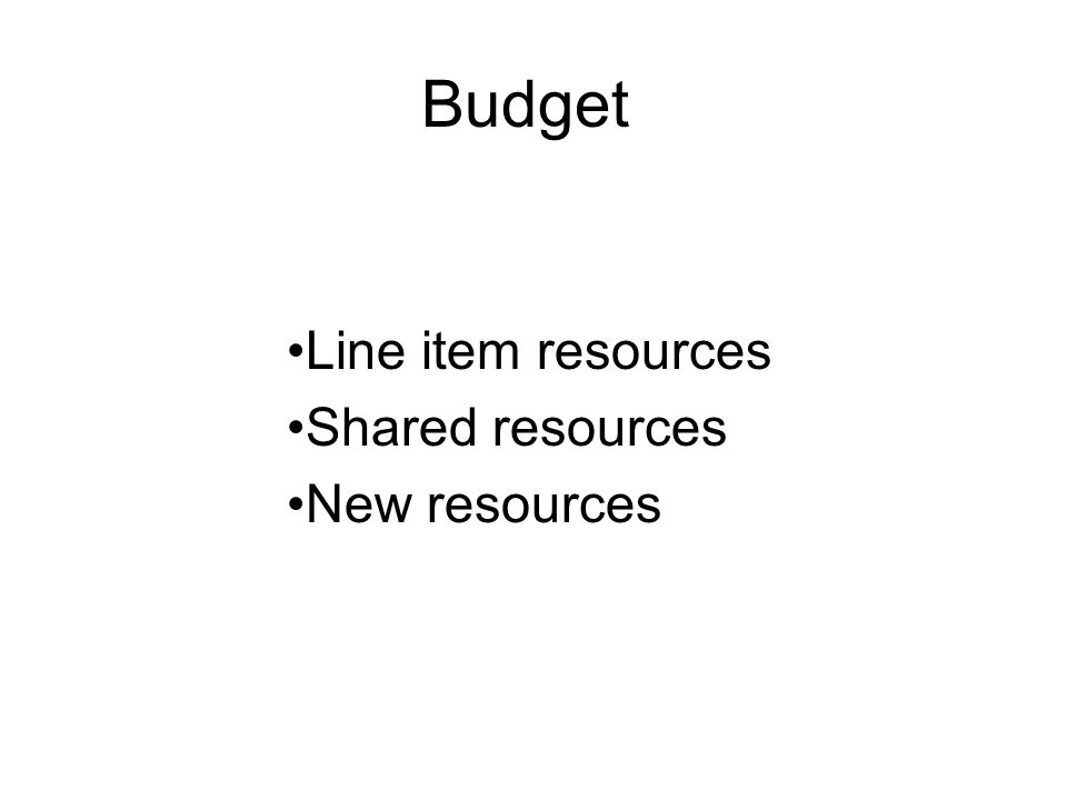 Budget Line item resources Shared resources New resources