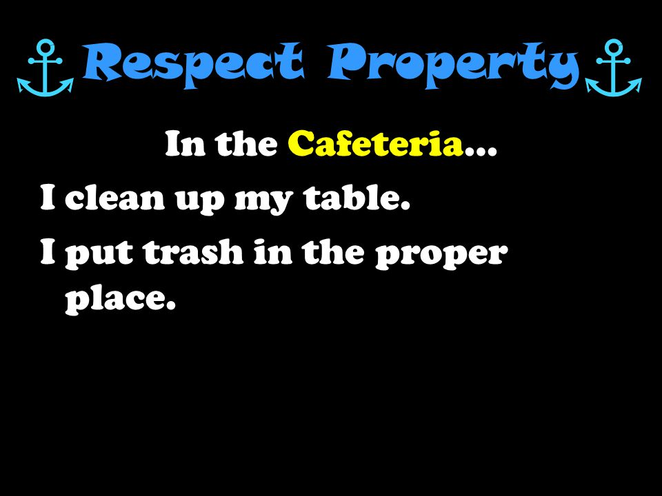 Respect Others In the Cafeteria … I talk only with my tablemates.