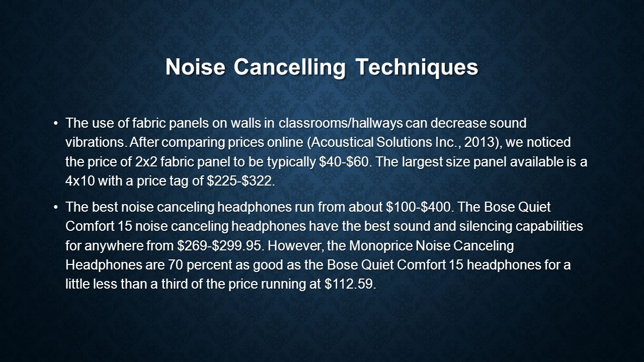 Conclusion Faculty who have taught at TNCC for at least two semesters have a positive attitude toward a noise control policy.