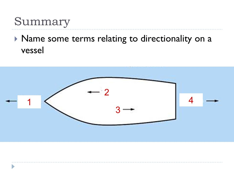  Name some terms relating to directionality on a vessel Summary 1 3 2 4