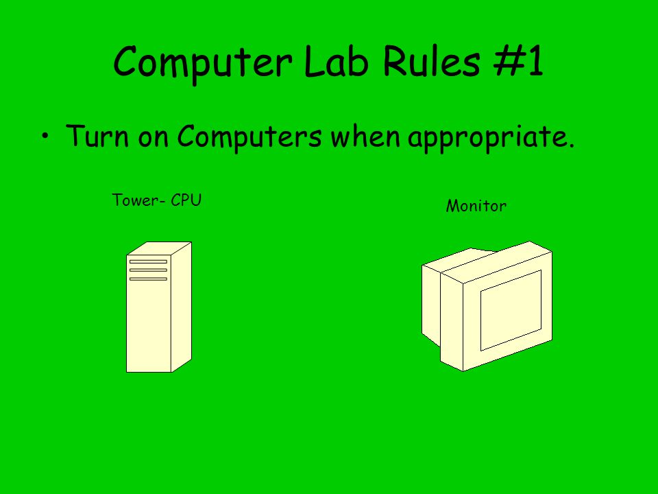 Computer Lab Rules #1 Turn on Computers when appropriate. Tower- CPU Monitor