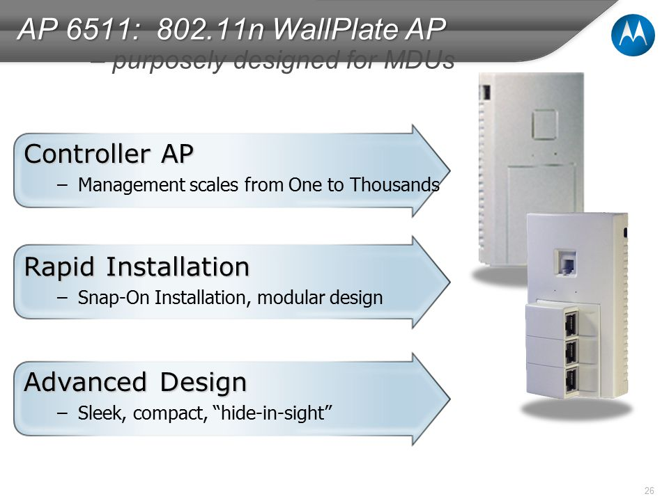 26 Rapid Installation –Snap-On Installation, modular design Controller AP –Management scales from One to Thousands Advanced Design –Sleek, compact, hide-in-sight AP 6511: 802.11n WallPlate AP AP 6511: 802.11n WallPlate AP – purposely designed for MDUs