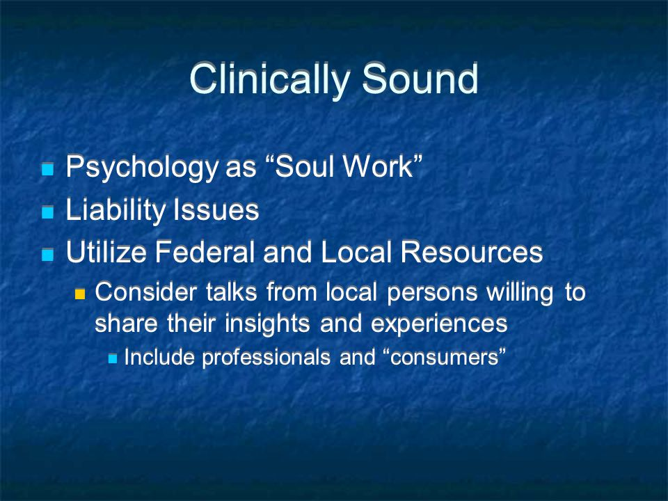 Clinically Sound Psychology as Soul Work Liability Issues Utilize Federal and Local Resources Consider talks from local persons willing to share their insights and experiences Include professionals and consumers Psychology as Soul Work Liability Issues Utilize Federal and Local Resources Consider talks from local persons willing to share their insights and experiences Include professionals and consumers