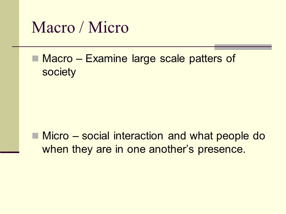 Macro / Micro Macro – Examine large scale patters of society Micro – social interaction and what people do when they are in one another's presence.
