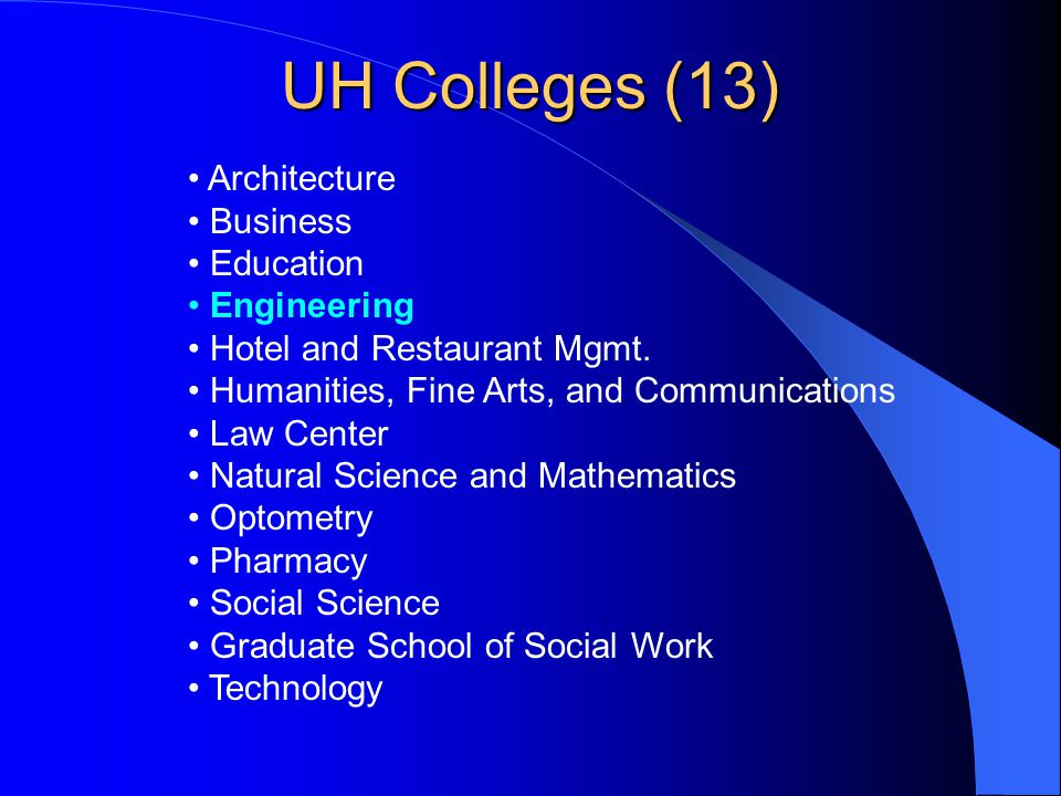 UH Colleges (13) Architecture Business Education Engineering Hotel and Restaurant Mgmt. Humanities, Fine Arts, and Communications Law Center Natural S