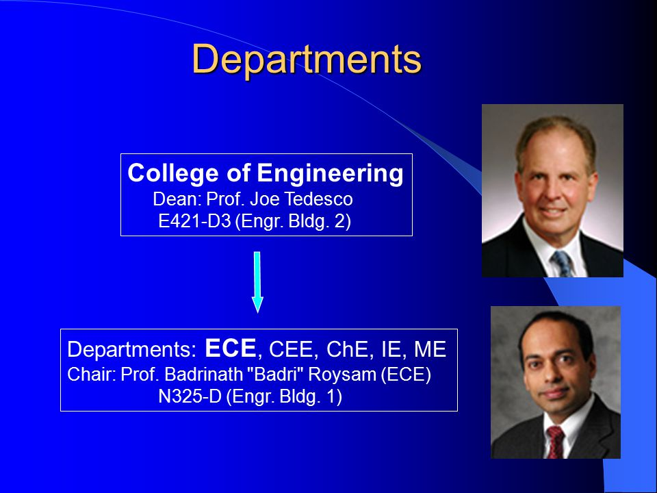 Departments Departments: ECE, CEE, ChE, IE, ME Chair: Prof. Badrinath