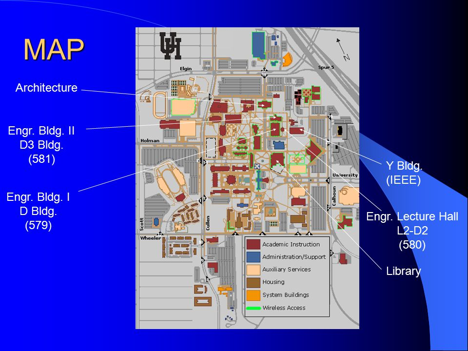 MAP Engr. Bldg. II D3 Bldg. (581) Engr. Bldg. I D Bldg. (579) Engr. Lecture Hall L2-D2 (580) Architecture Library Y Bldg. (IEEE)