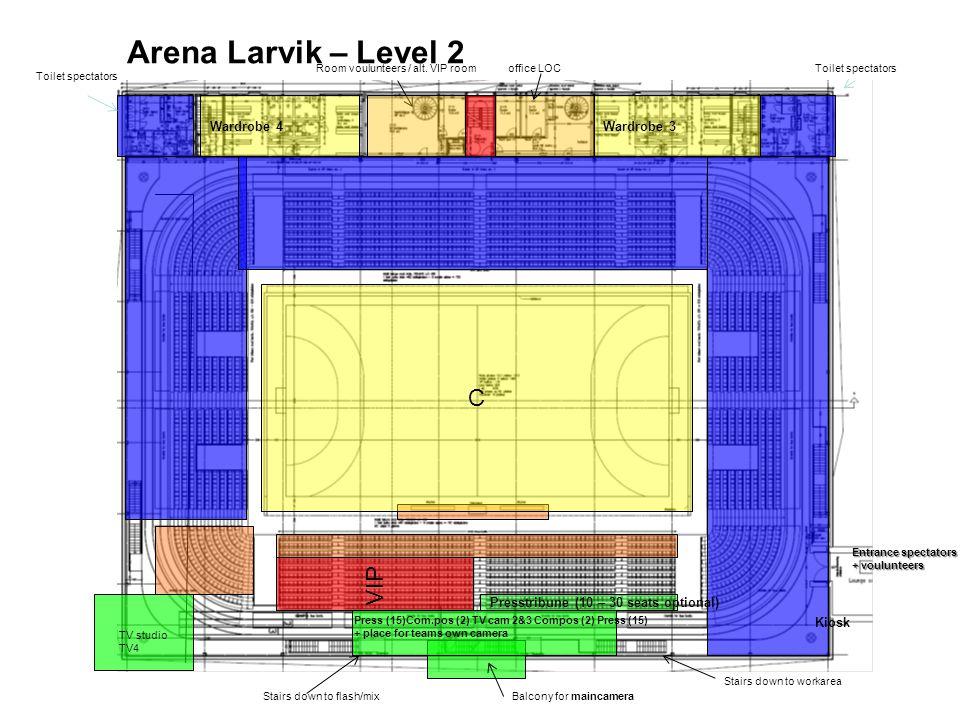 Wardrobe 4Wardrobe 3 Presstribune (10 – 30 seats optional) Arena Larvik – Level 2 C Toilet spectators Entrance spectators + voulunteers Kiosk TV studi