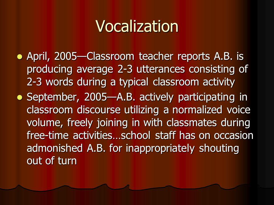 Vocalization April, 2005—Classroom teacher reports A.B.