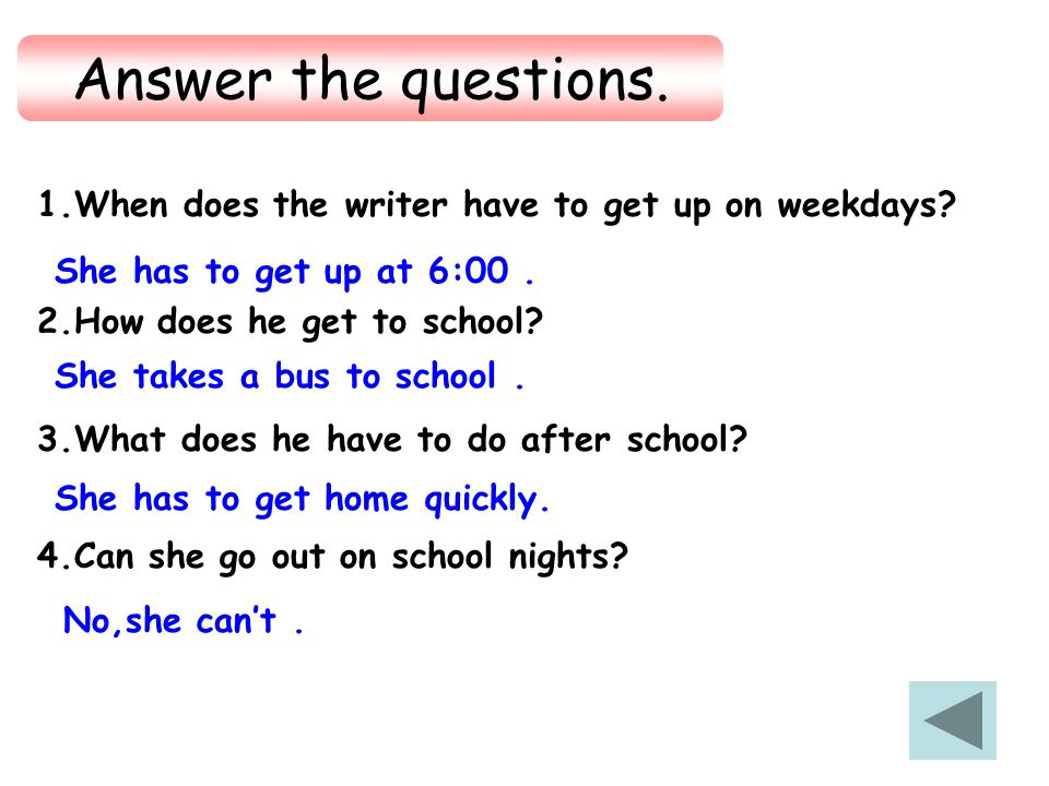 1. The writer wrote ____________ family rules on weekend in this passage. A. one B. two C. three D. four 2. The writer wants to tell us that _________