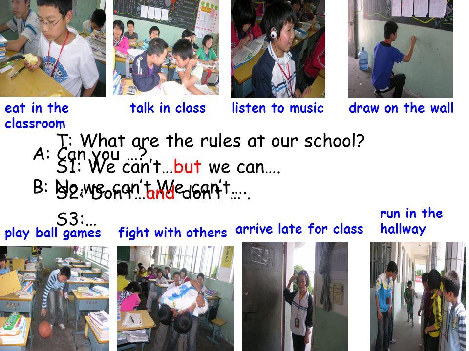 ( 二 ) 学校规章制度中能做的事情 1.我们能在音乐教室里听歌. We can listen to music in the music classroom.