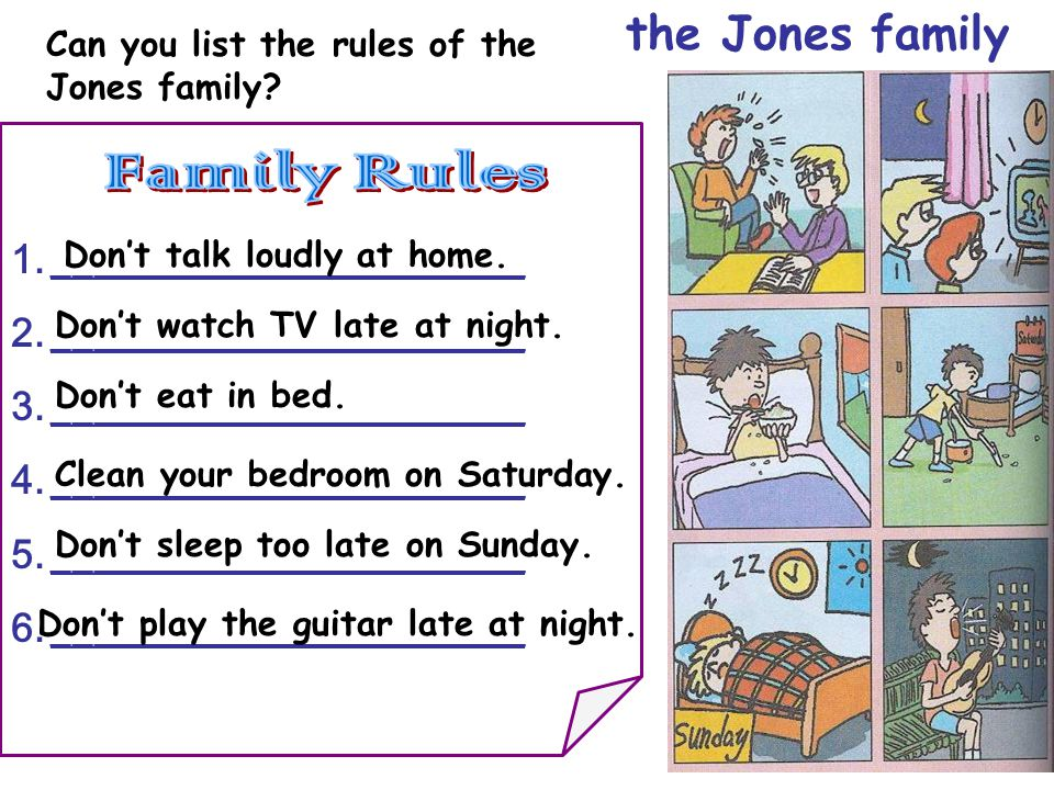 the Jones family Can you list the rules of the Jones family.