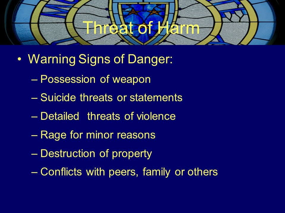 Threat of Harm Warning Signs of Danger: –Possession of weapon –Suicide threats or statements –Detailed threats of violence –Rage for minor reasons –De