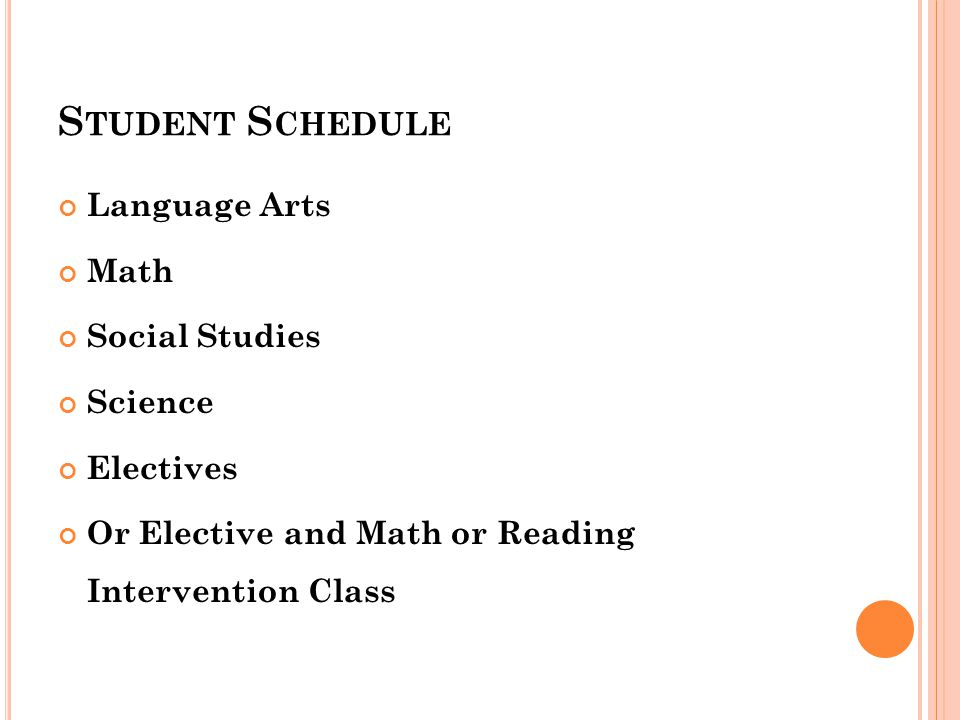 S TUDENT S CHEDULE Language Arts Math Social Studies Science Electives Or Elective and Math or Reading Intervention Class