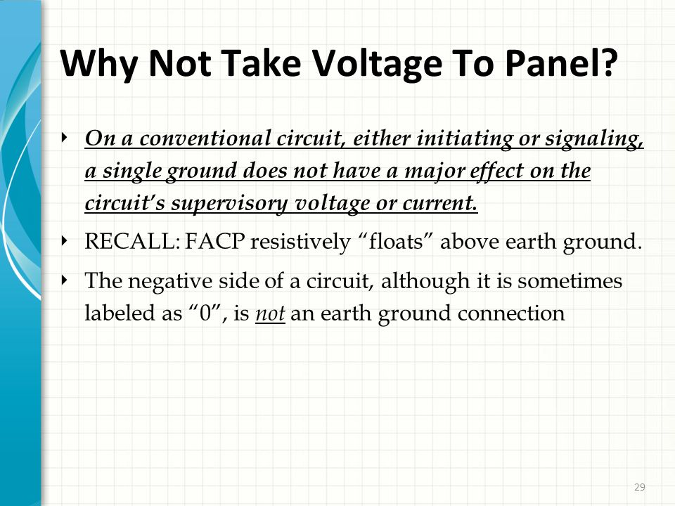 29 Why Not Take Voltage To Panel.