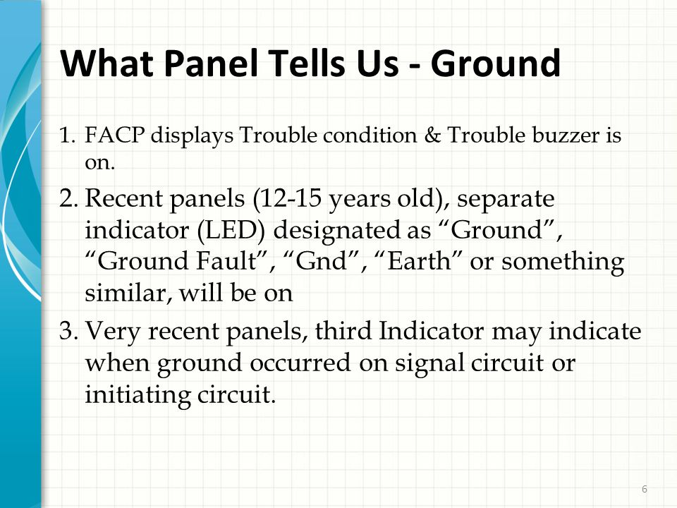 6 What Panel Tells Us - Ground 1. FACP displays Trouble condition & Trouble buzzer is on.