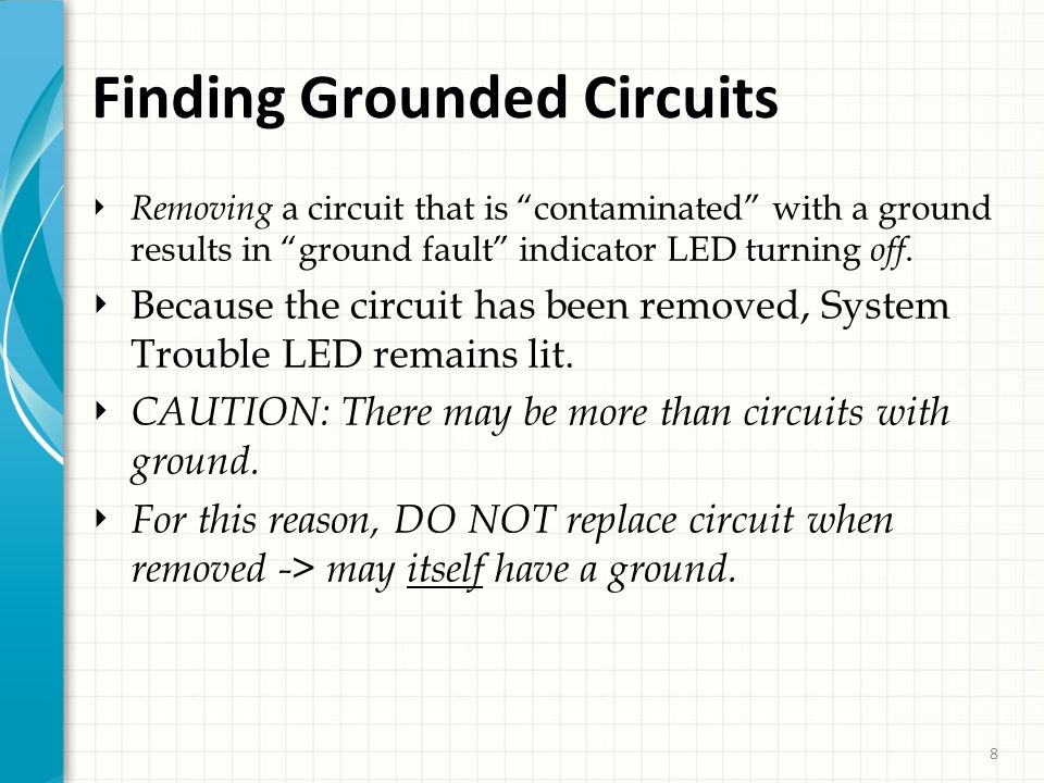 8 Finding Grounded Circuits ‣ Removing a circuit that is contaminated with a ground results in ground fault indicator LED turning off.
